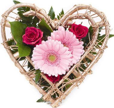 Mazzo Di Fiori A Forma Di Cuore.Composizione A Forma Di Cuore Di Rose Gerbere E Fiori Misti Dai