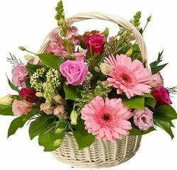 Basket of roses and bright flowers