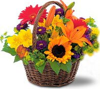 Basket of bright flowers