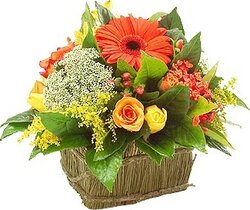 Basket of gerberas, roses and mixed flowers in warm colors
