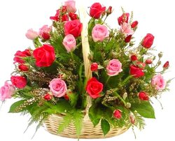 Basket of pink and red roses