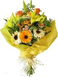 Bright gerberas, lilies and mixed flowers