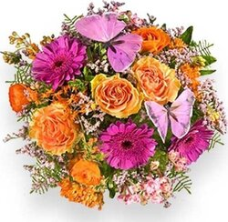 Bright roses, gerberas and mixed flowers
