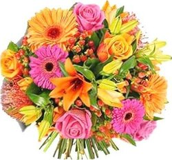Bright roses, lilies, gerberas and mixed flowers