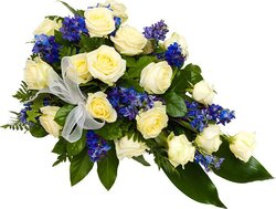 Funeral bunch of white roses and mixed flowers