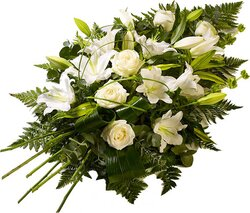 Delicate funeral bunch of roses and lilies