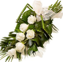 Funeral bunch of white roses