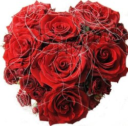 Heart arrangement of red roses