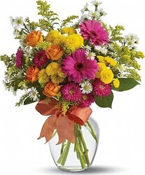 Lively roses, daisies or gerberas and mixed flowers
