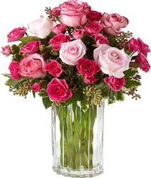 Pink roses and mixed flowers
