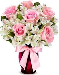Pink Roses and mixed flowers.