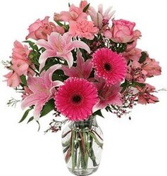 Pink roses, gerberas, lilies and mixed flowers