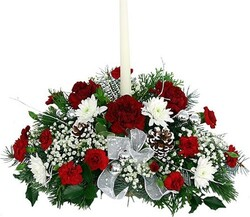 Christmas centerpiece of red and white mixed flowers