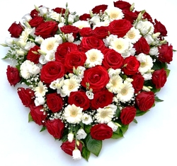 Red and white heart arrangement of roses, gerberas and mixed flowers