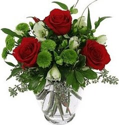 Red roses and mixed flowers