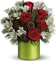 White and red roses and alstroemerias for Christmas