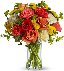 Roses and mixed flowers in warm colors