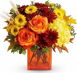 Roses, daisies or gerberas and mixed flowers in warm colors