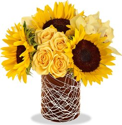 Sunflowers, roses and mixed flowers in sunny colors