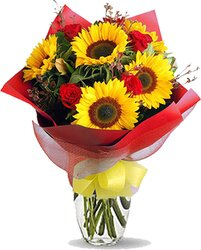 Sunflowers, roses and mixed flowers