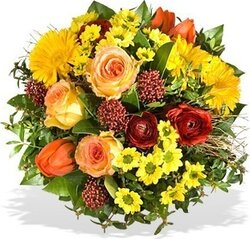 Sunny roses, gerberas and mixed flowers