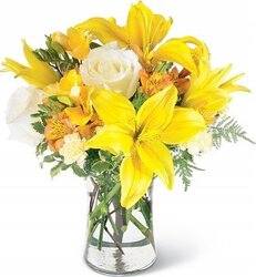 Sunny roses, lilies, alstroemerias and mixed flowers