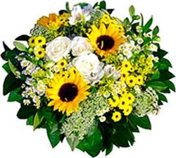 Sunny roses, sunflowers and mixed flowers