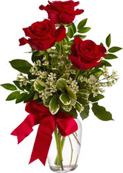 3 highest quality Red Roses with seasonal greenery