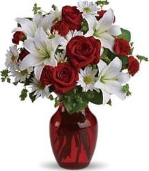 White and red roses, lilies, daisies or gerberas and mixed flowers
