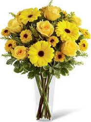 Sunny roses, gerberas and/or daisies and mixed flowers